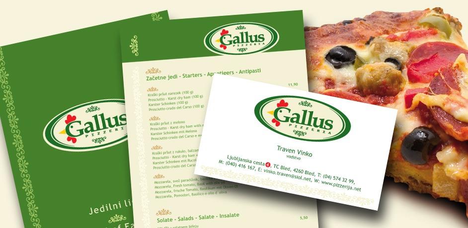 Oblikovanje tiskovin in jedilnikov za picerijo Gallus.