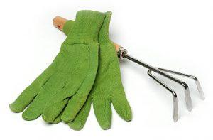 Zelene vrtne rokavice in grabljice - izdelava spletne trgovine Art Design