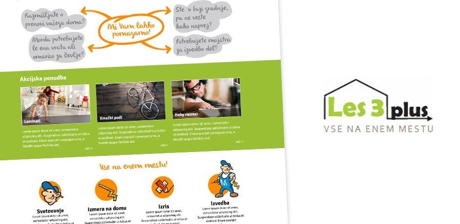 Oblikovanje spletnih strani za podjetje Les3 plus.