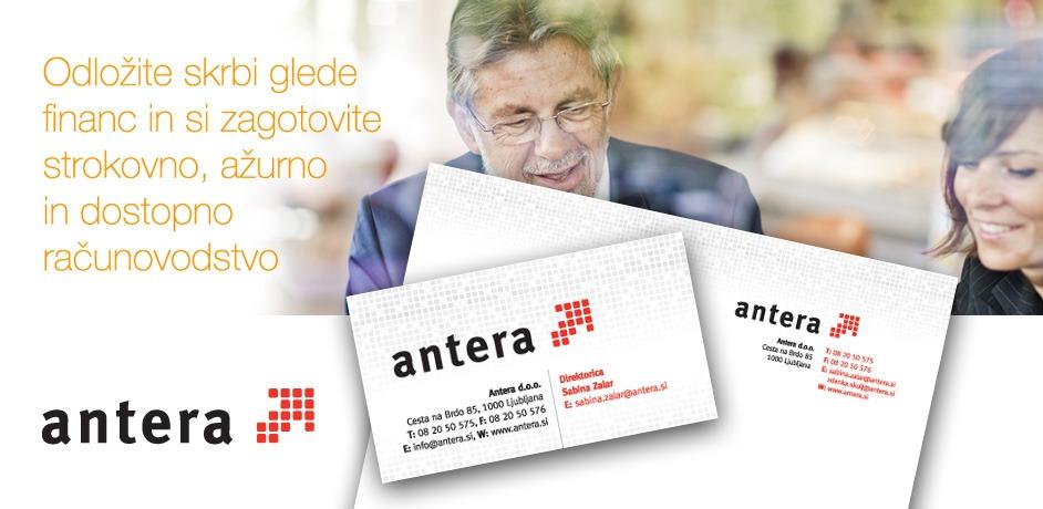 Oblikovanje poslovnih tiskovin za podjetje Antera.